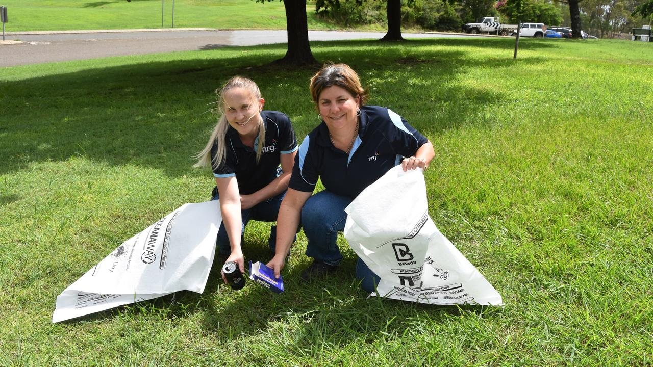 Emma Welch and Megan Lutton from NRG are ready for Clean Up Australia Day