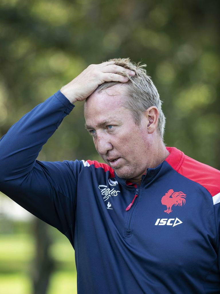 Roosters coach Trent Robinson at training at Moore Park.