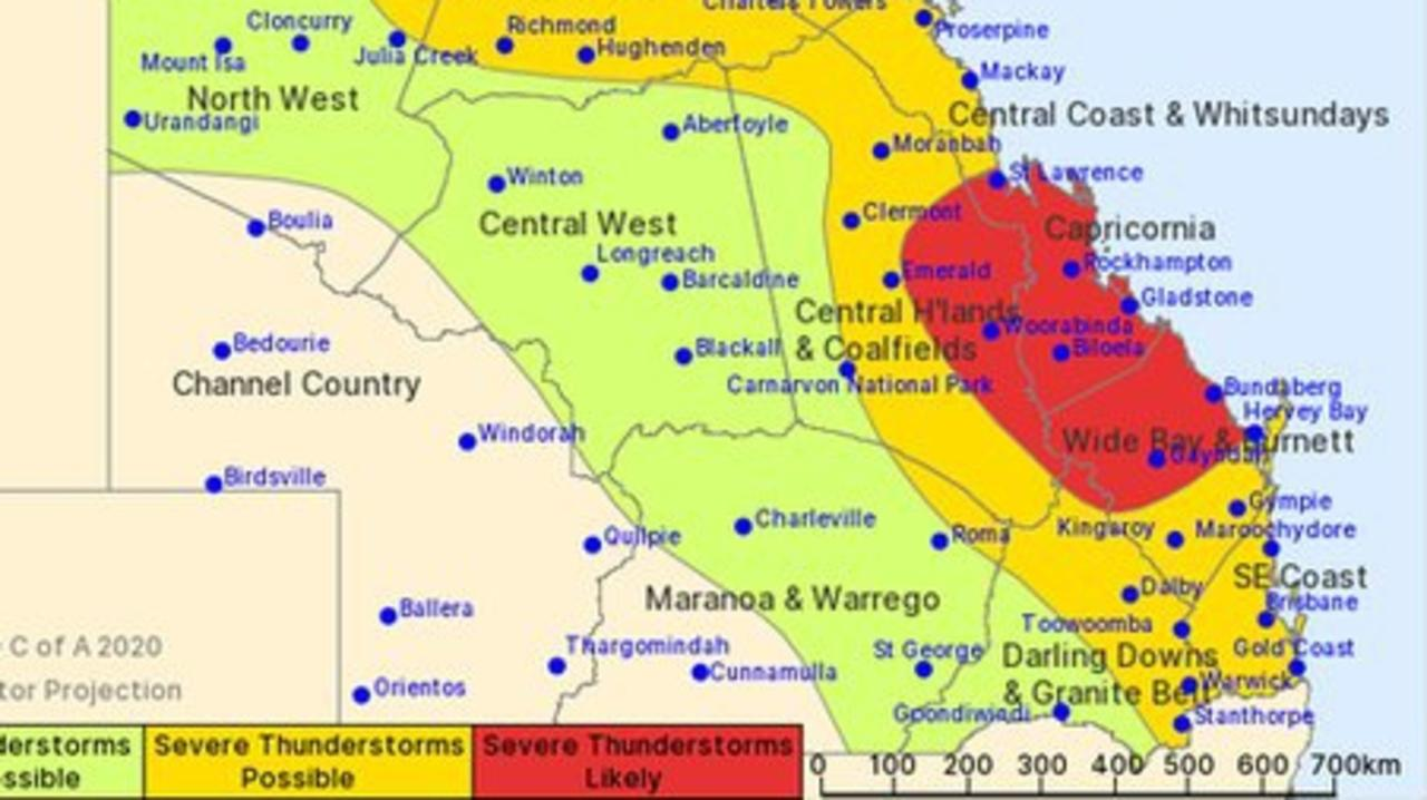 The Bureau of Meteorology issued the severe thunderstorm warning for the Wide Bay area earlier today.