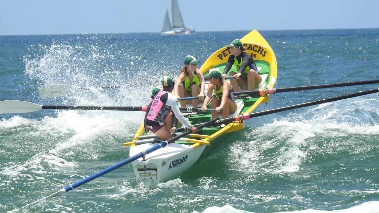The state's finest surfboat crews will descend on Dicky Beach on Saturday for round three of the BP Wessel Queensland Cup. Pictured is a Dicky Beach crew.