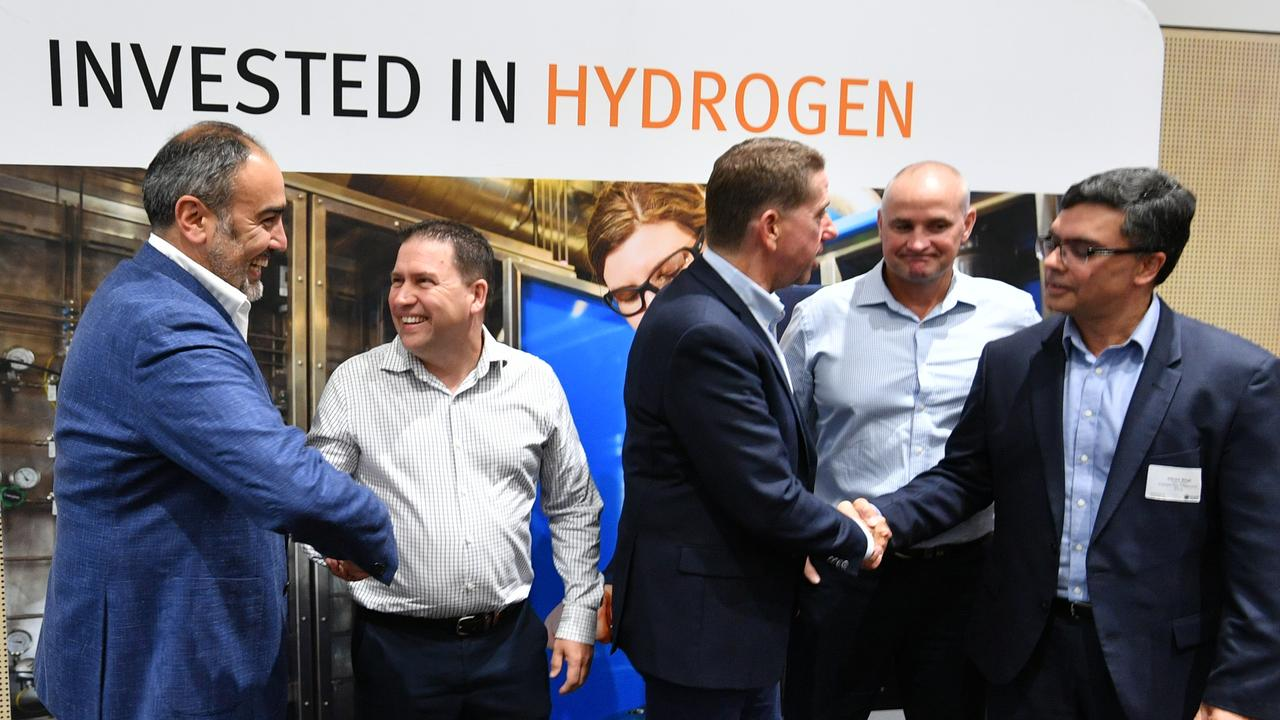 (From left) CEO and Founder of H2U Dr Attilio Pigneri, Gladstone Mayor Matt Burnett, Minister for State Development Cameron Dick, Gladstone MP Glenn Butcher and Australian Gas Infrastructure Group advisor Vikram Singh at the Regional Hydrogen Forum in Gladstone.