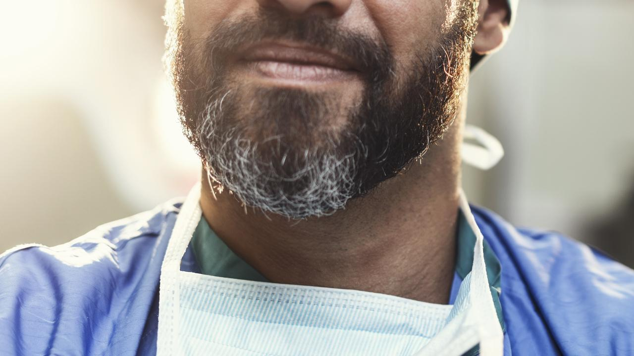 Beards make it difficult to seal a surgical mask.