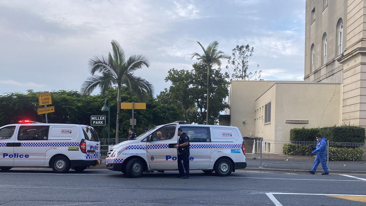 Police on scene at an alleged stabbing on William St, Brisbane. Photo: Jess Millward/Nine News Brisbane