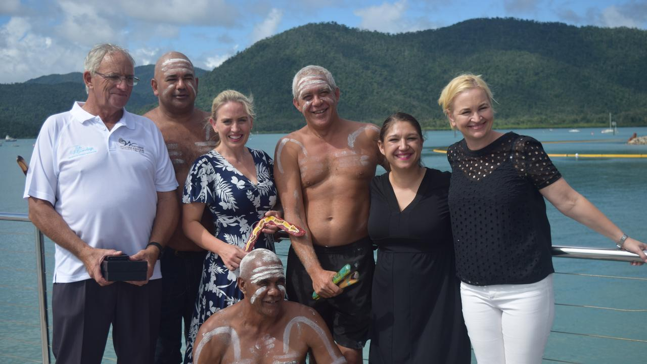 Whitsunday Paradise Explorer Owner Operator John Henderson, Ngaro Traditional Owner Tony Pryor, Minister for Tourism Industry Development Kate Jones, Ngaro Traditional Owner Peter Pryor, CEO of Tourism Whitsundays Tash Wheeler, managing director of the Great Barrier Reef Foundation and (front) Ngaro Traditional Owner William Prior