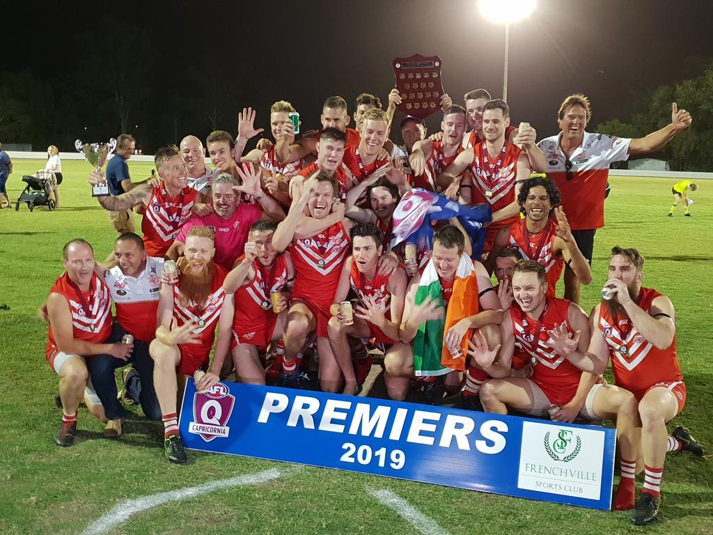 PREMIERS: The Yeppoon Swans celebrate their record fifth-straight AFL Capricornia flag win at Rockhampton Cricket Grounds last season.