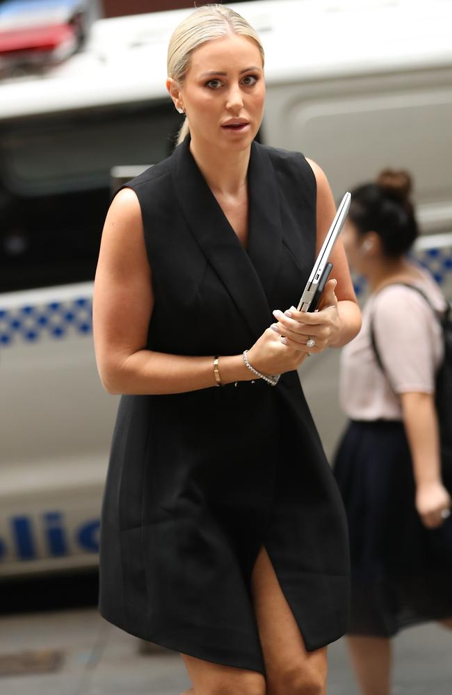Roxy Jacenko arriving at Downing Centre courts in Sydney today. Picture: John Grainger