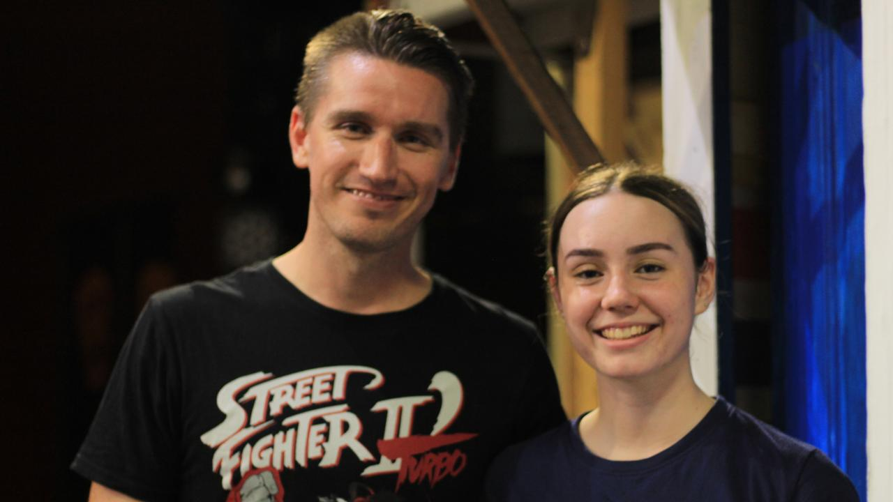 ON STAGE: Andy McLucas and Taylah Halpin at the Playhouse for Mamma Mia rehearsals.