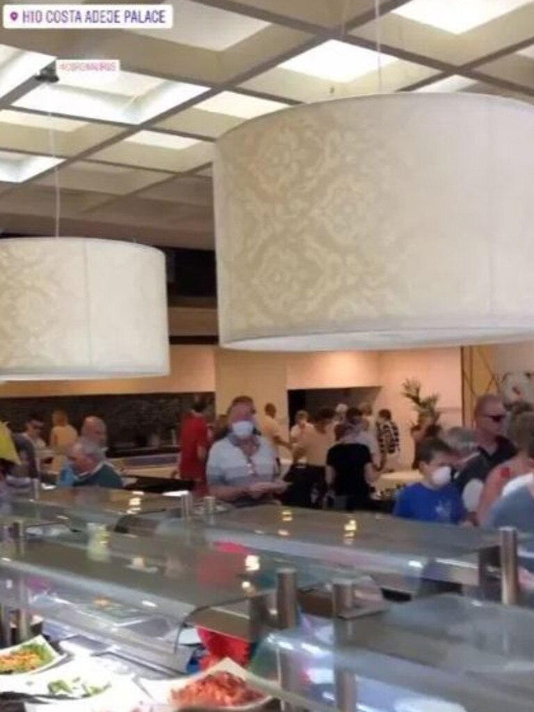 Guests feed themselves at the hotel's buffet despite the coronavirus threat. Picture: @priorityno.1