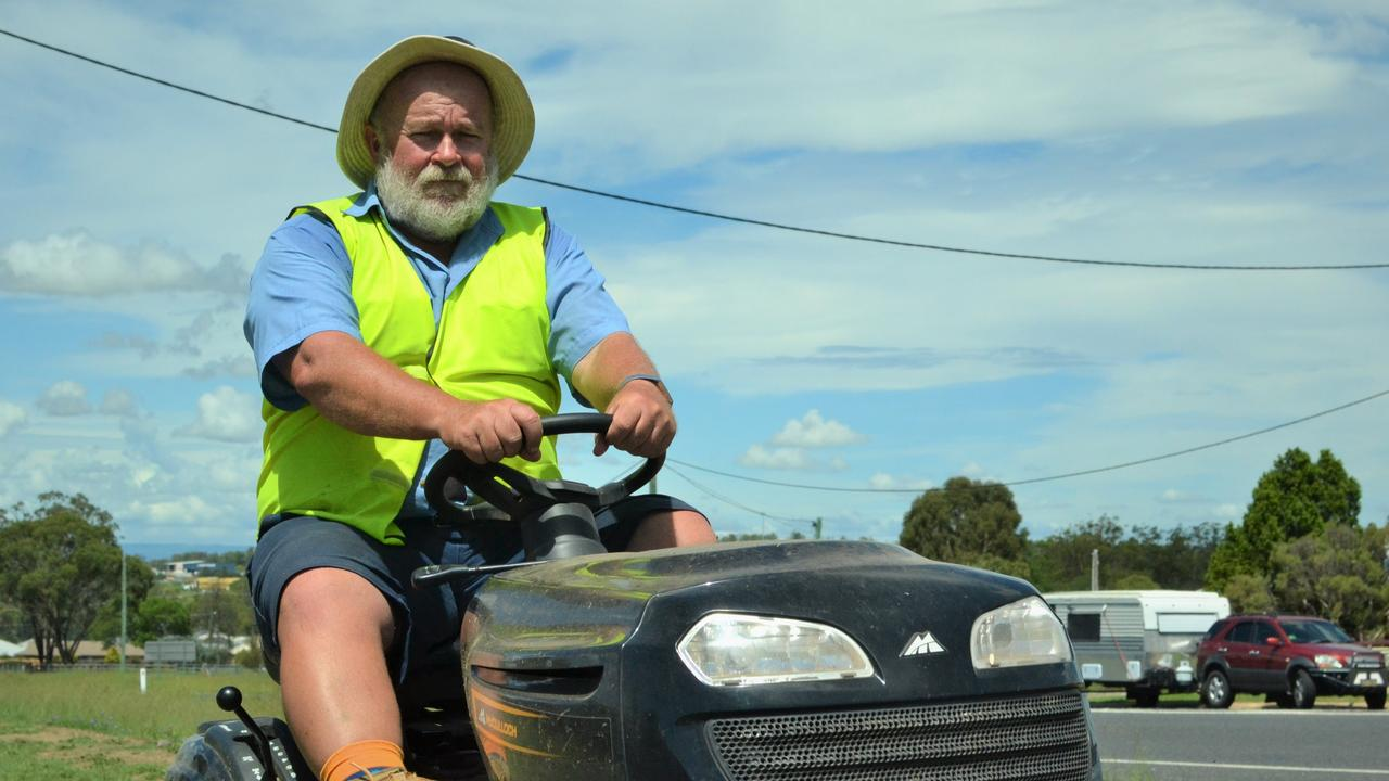 HARD KNOCK LIFE: Ian Macdonald from Southern Downs Garden Centre is cautious about riding a mower after getting thwacked in the head with a plank of wood.