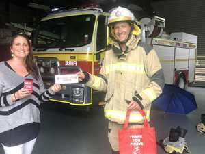 Thank the fireys at special Cotton Tree event