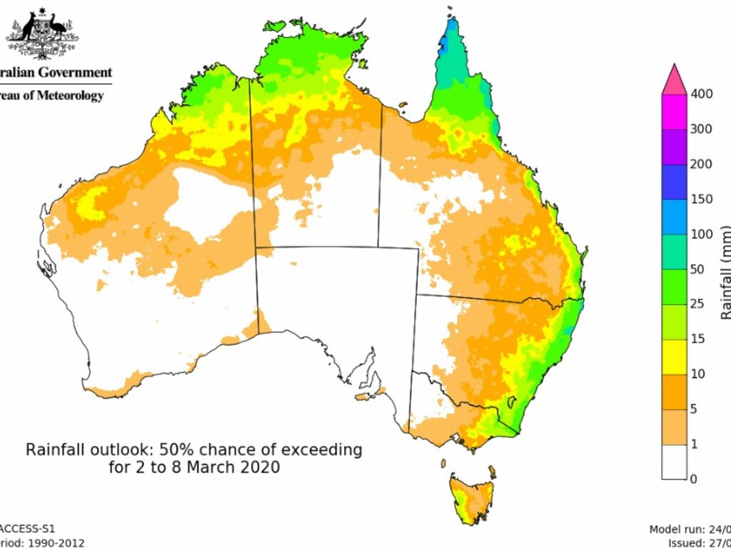 BOM's outlook for rainfall across the nation in March. Picture: BOM