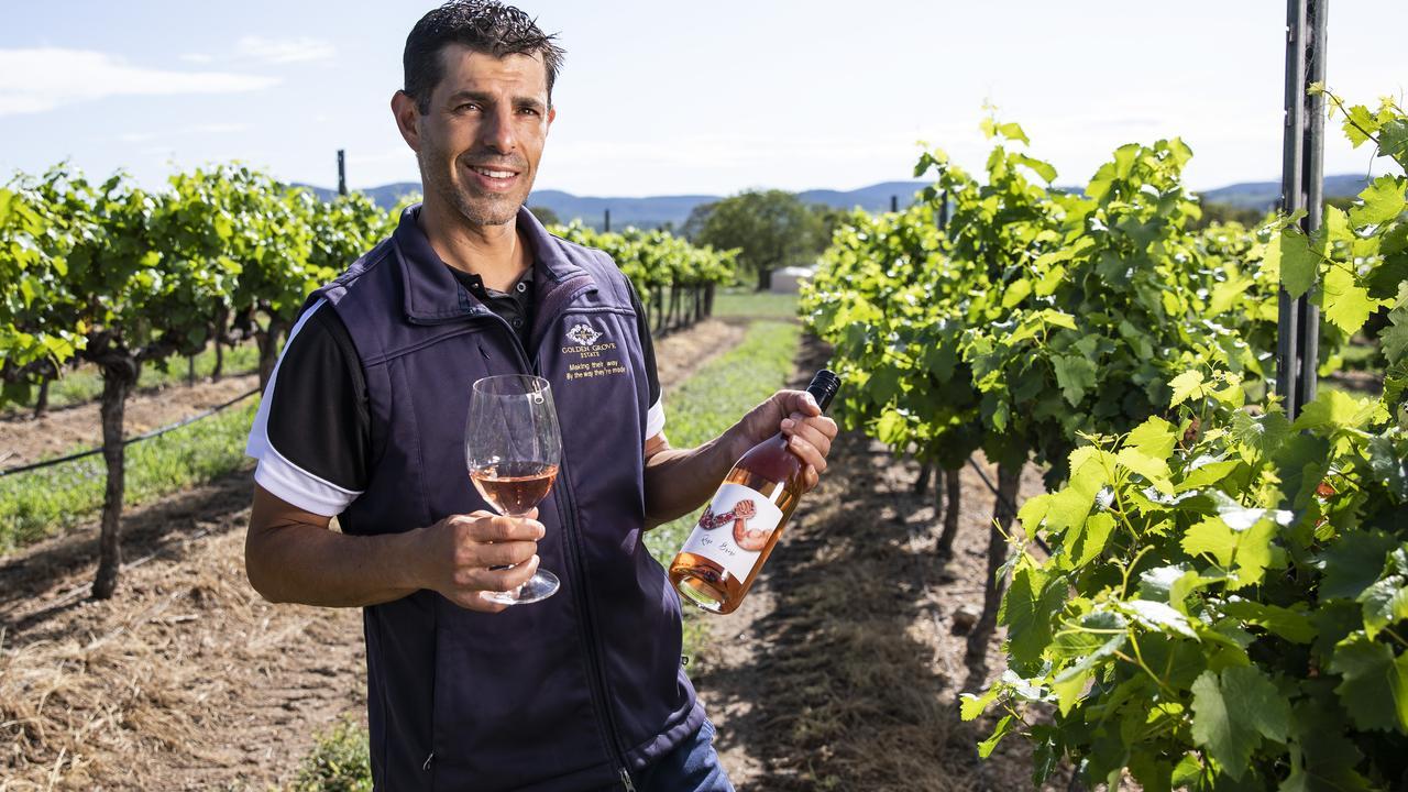 Golden Grove Estate's Ray Costanzo his vineyard at Ballandean. Picture: Mark Cranitch