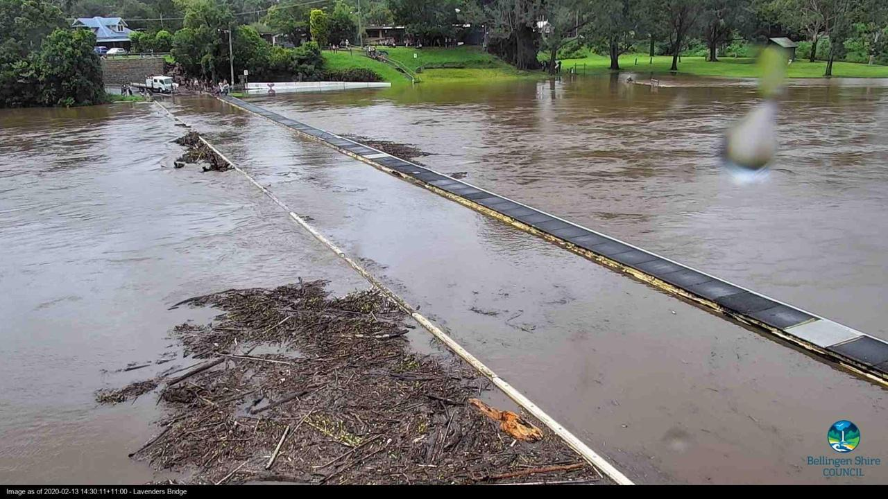 Flood camera photo of Lavenders Bridge in Bellingen taken during February 2020 flooding.