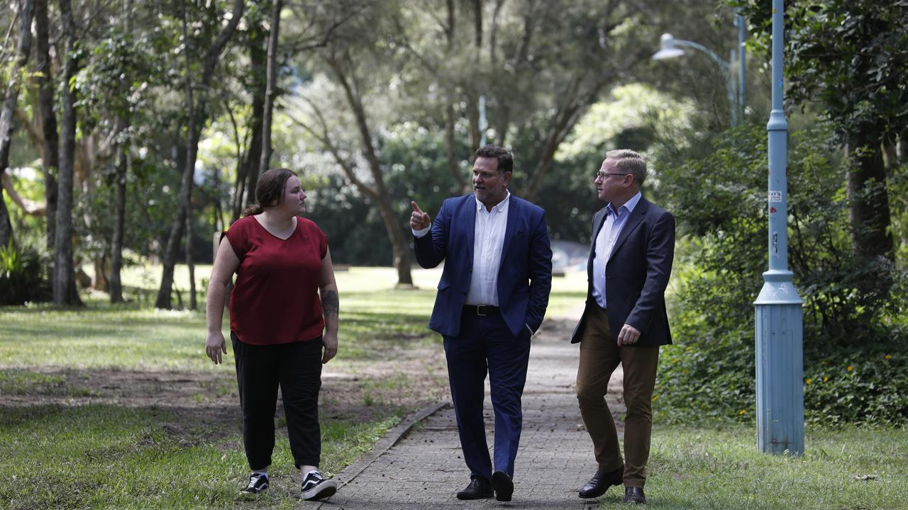Arakwal representative Nickolla Clark, Byron mayor Simon Richardson and Ben Franklin MLC. The State Government has announced $25 million in funding for the Byron Shire, as promised by Mr Franklin when he ran for the state seat of Ballina in 2019.