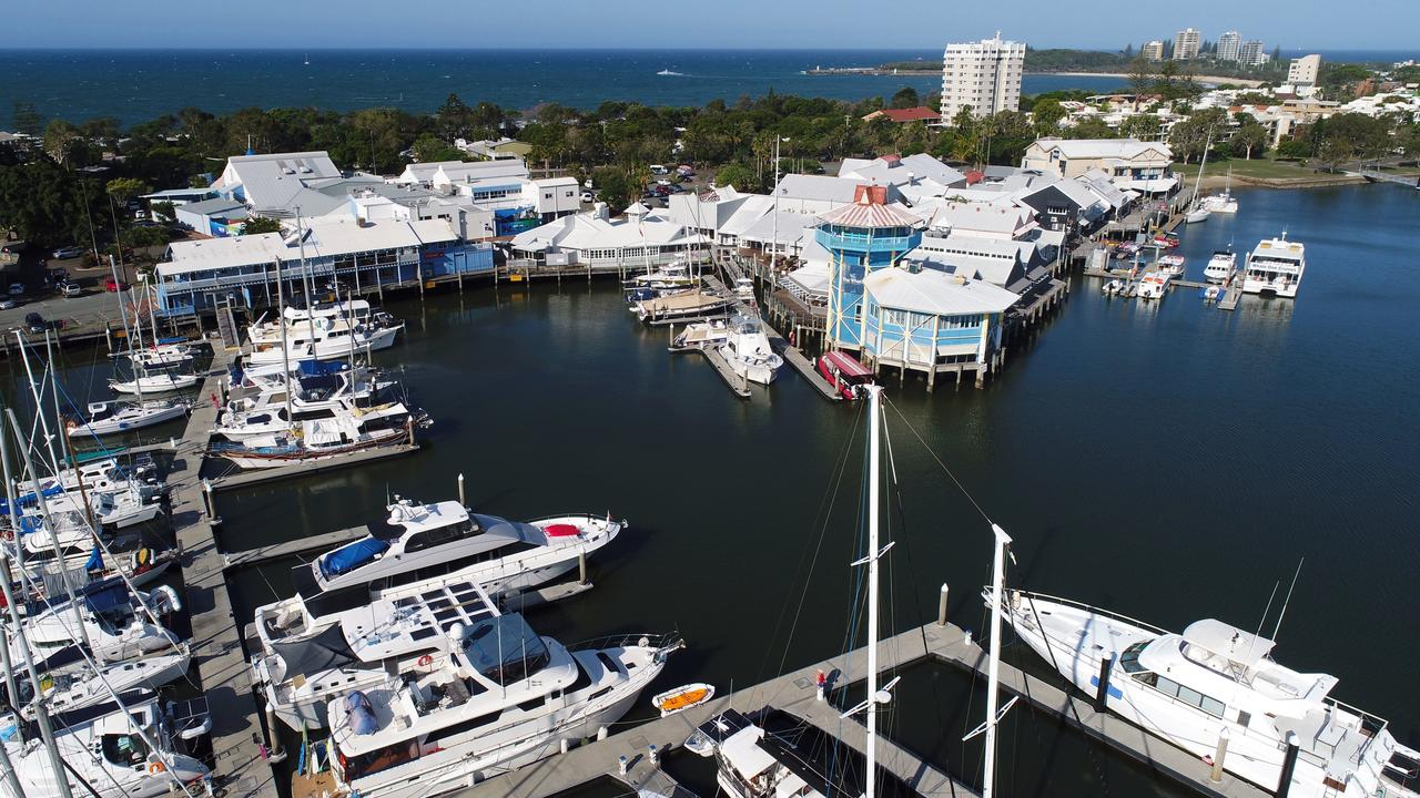 Drone aerial photos of The Wharf Mooloolaba, Sunshine Coast.