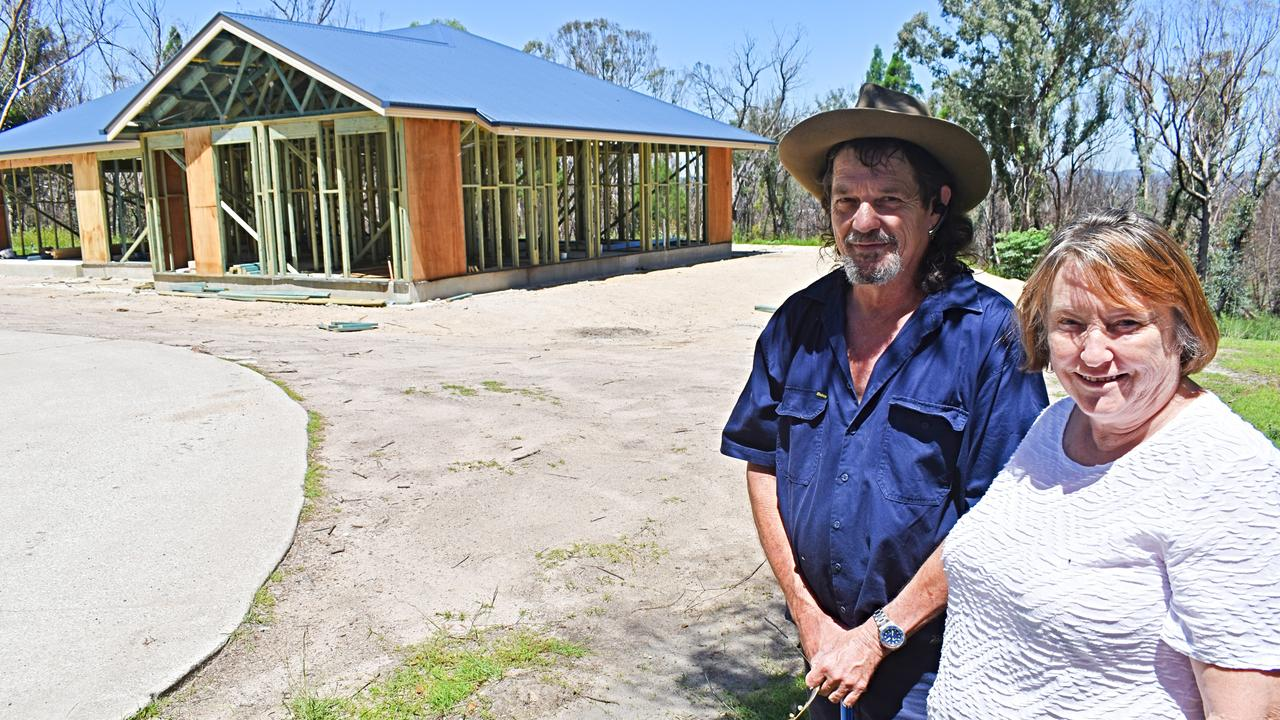 Coral and Brad Krahe hope to move into their new home in April after losing their house in the September fires.