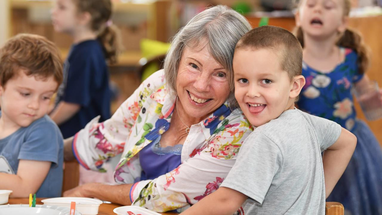 Wendy Veale celebrates 30 wonderful years she has been teaching at Buderim Kindy. Wendy pictured with student Ned. Photo: Patrick Woods.