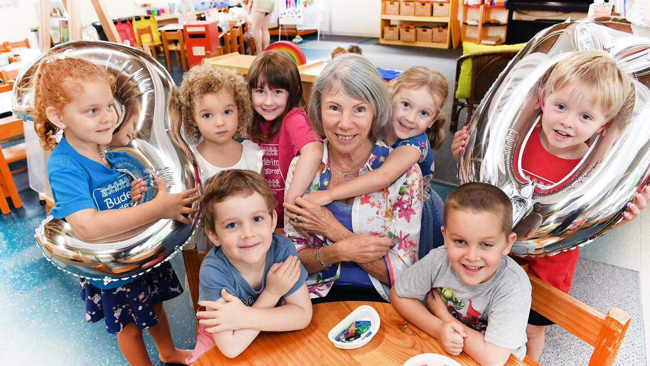 Mrs Wendy Veale celebrates 30 wonderful years she has been teaching at Buderim Kindy. Wendy pictured with students, (front) Finian and Ned, (back) Delilah, Marley, Mary, Ivy and Henry. Photo Patrick Woods.