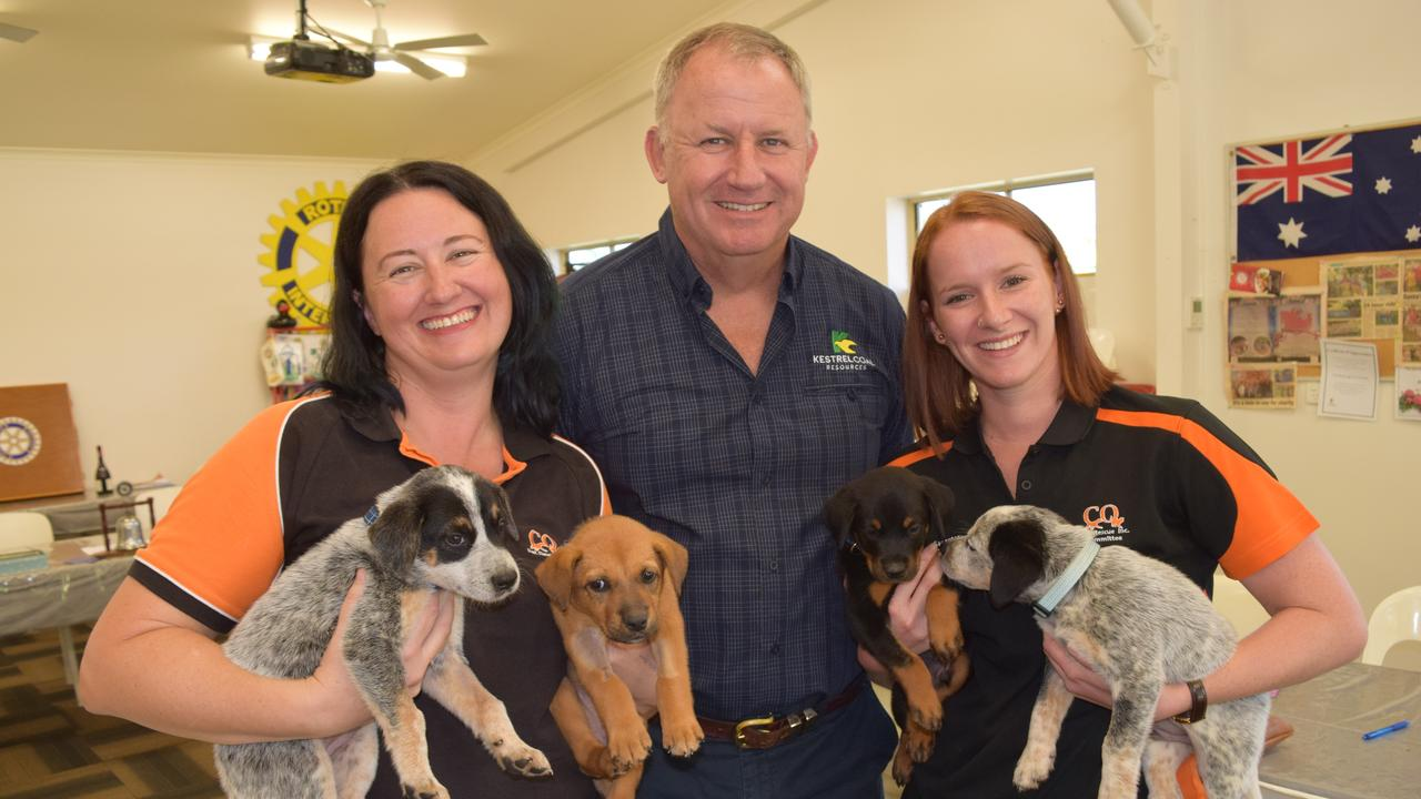 SUPPORT: Susan Consedine and Kellianne Merrick from CQ Pet Rescue with Kestrel Coal General Manager Charlie Spence.