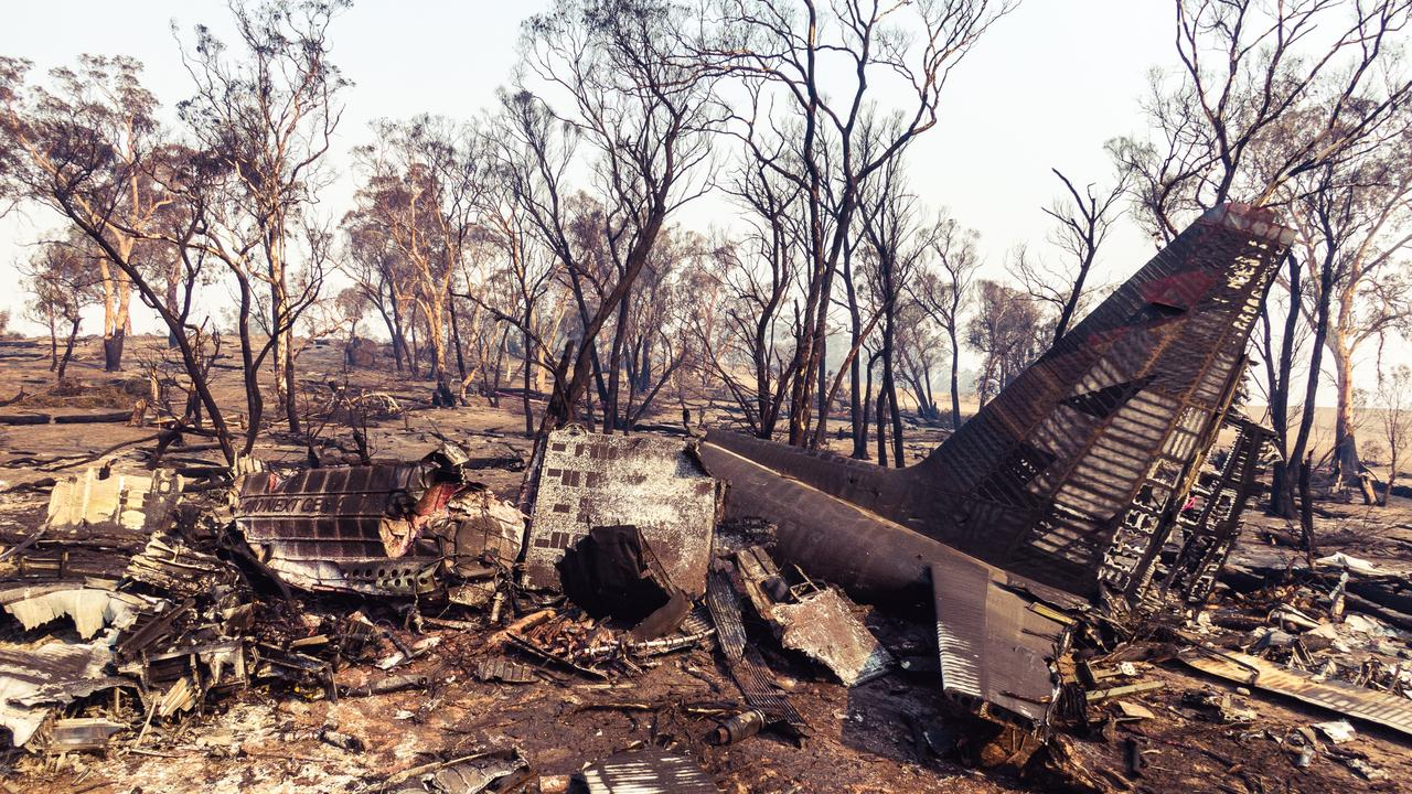 The remains of the air tanker following the catastrophic crash. Source: NSW Police / ATSB