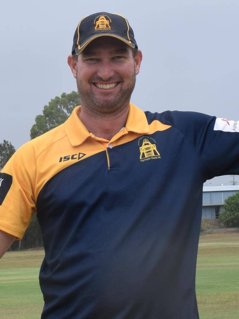 Gympie Gold XI – Batsman Steve Brady celebrates his unbeaten 153 against Caloundra on Saturday.