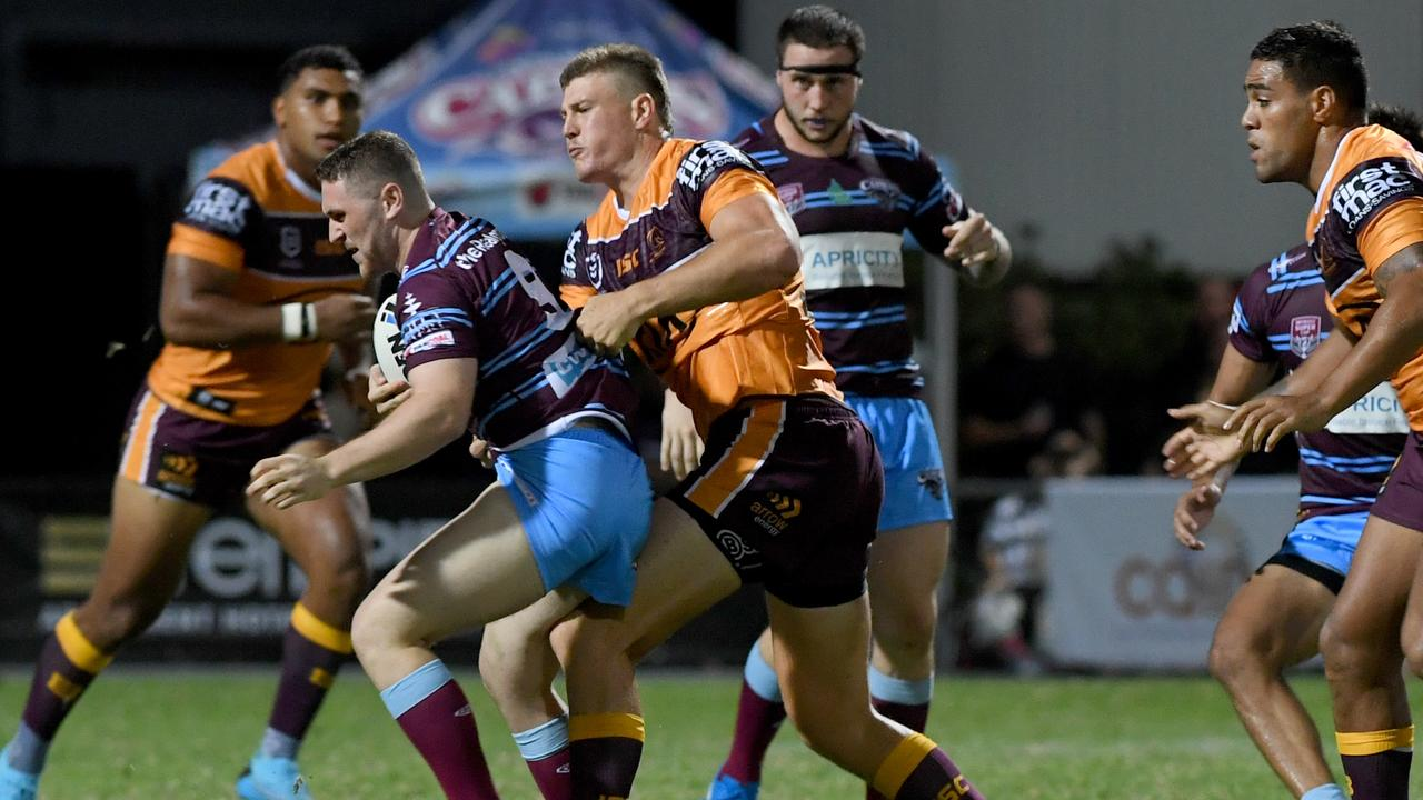CQ Capras' player Treymaine Brown, pictured in action against the Brisbane Broncos, will line up for the team's third trial game on Saturday. Picture: Jann Houley