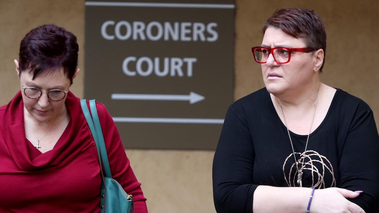 Nella Nisco, right, mother of Sophia Nisco, leaves the Adelaide Coroners Court during an earlier hearing. Picture: AAP