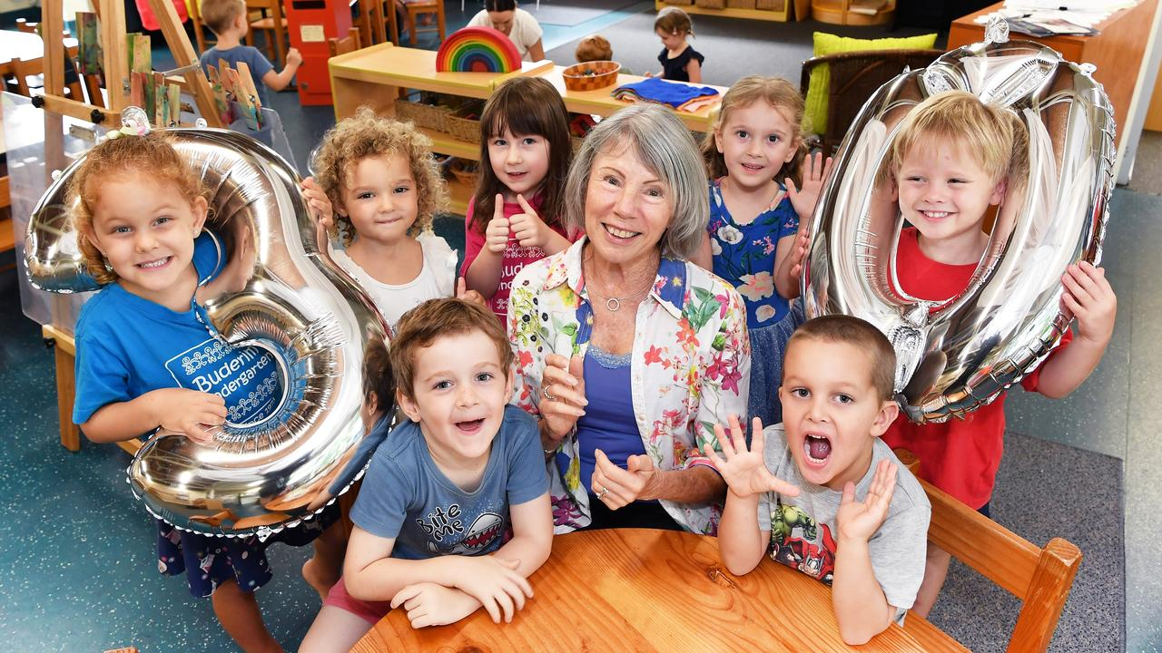 MILESTONE: Wendy Veale celebrates 30 wonderful years she has been teaching at Buderim Kindy. Wendy pictured with students, (front) Finian and Ned, (back) Delilah, Marley, Mary, Ivy and Henry. Photo: Patrick Woods.