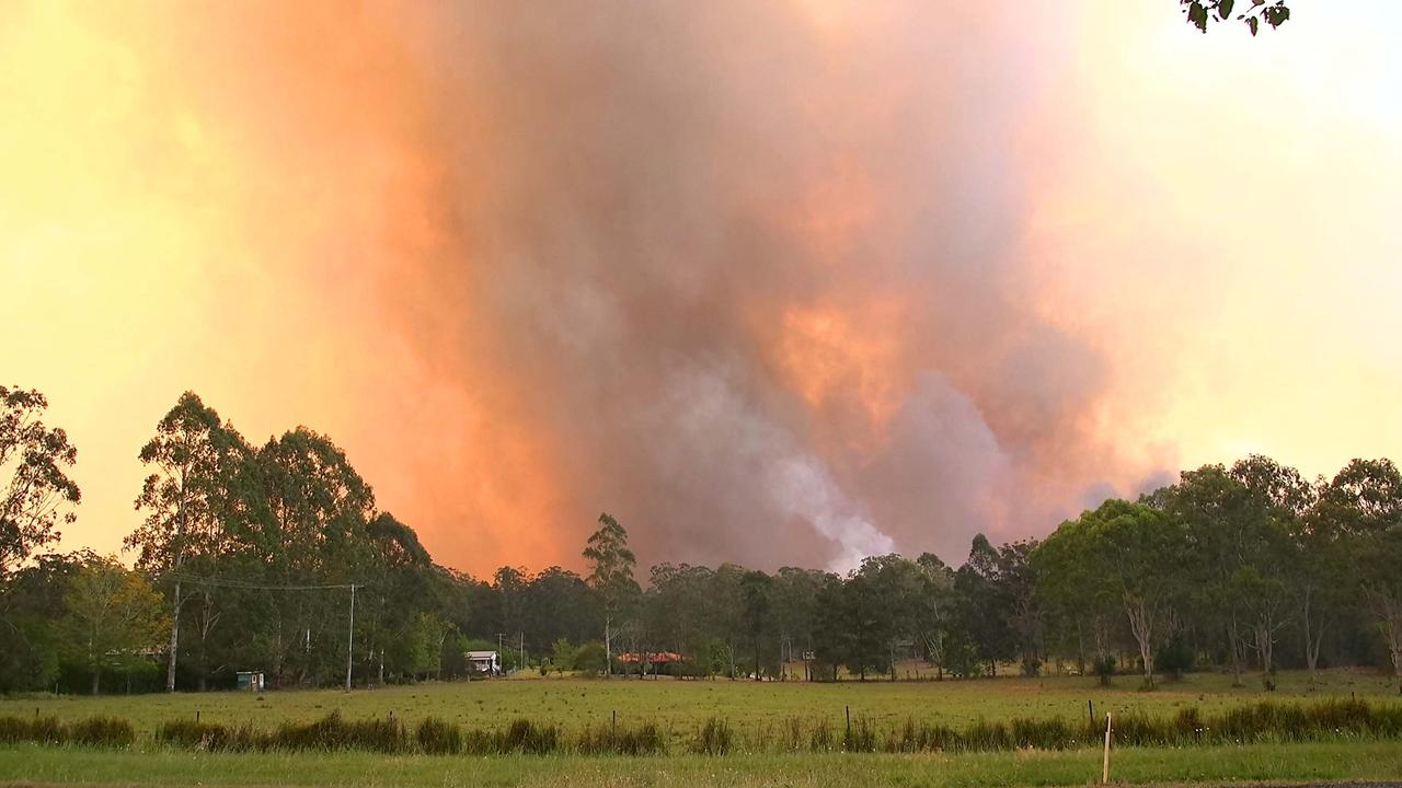 Nana Glen in November. Fire fighters battled the Liberation Trail bush fire that reached emergency level at Nana Glen, West of Coffs Harbour as strong winds pushed it towards the town. A number of structures were lost in Ellems Quarry Road. Photo Frank Redward