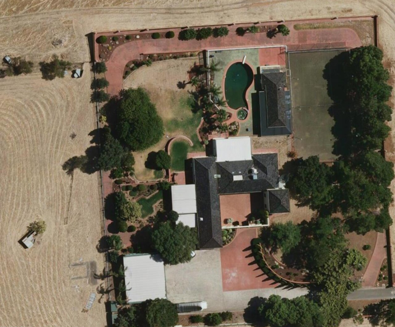 An aerial shot of the luxury house in 2010 above, and in February 2020, below. Pictures: Metro Map