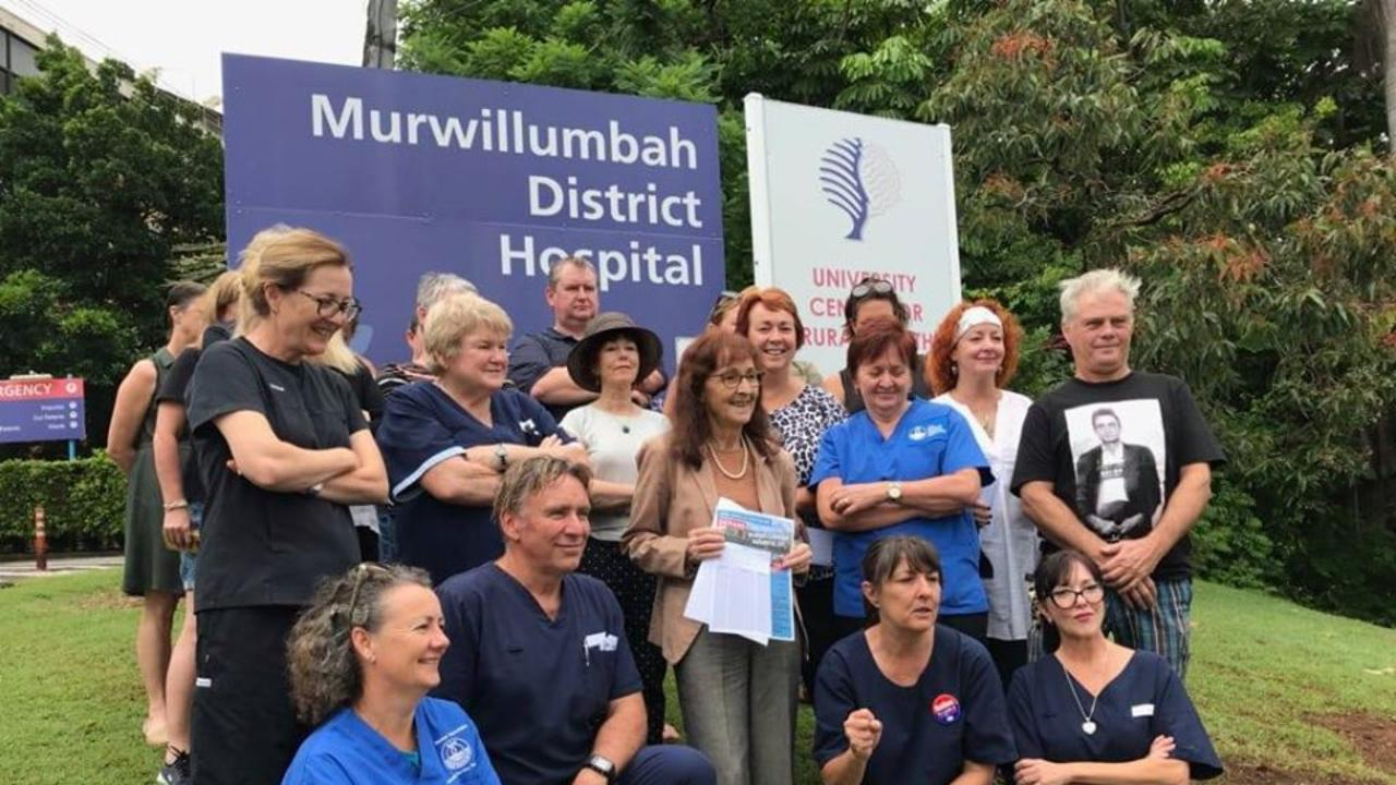 Member for Lismore Janelle Saffin with nurses outside the Murwillumbah hospital last Saturday collecting signatures for the petition to stop the changes to nursing hours at the ED.
