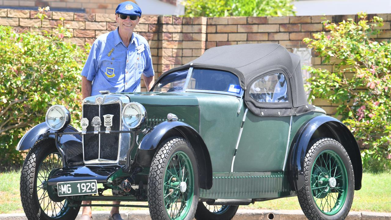 Peter Kerr with his MG M Type Midget fabric-body sports car, built in 1929. Photo: John McCutcheon / Sunshine Coast Daily