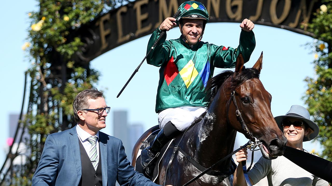 MELBOURNE, AUSTRALIA - FEBRUARY 29: Ryan Maloney riding Alligator Blood celebrates after winning Race 7 the Kennedy Australian Guineas during Melbourne Racing at Flemington Racecourse on February 29, 2020 in Melbourne, Australia. (Photo by Jack Thomas/Getty Images)