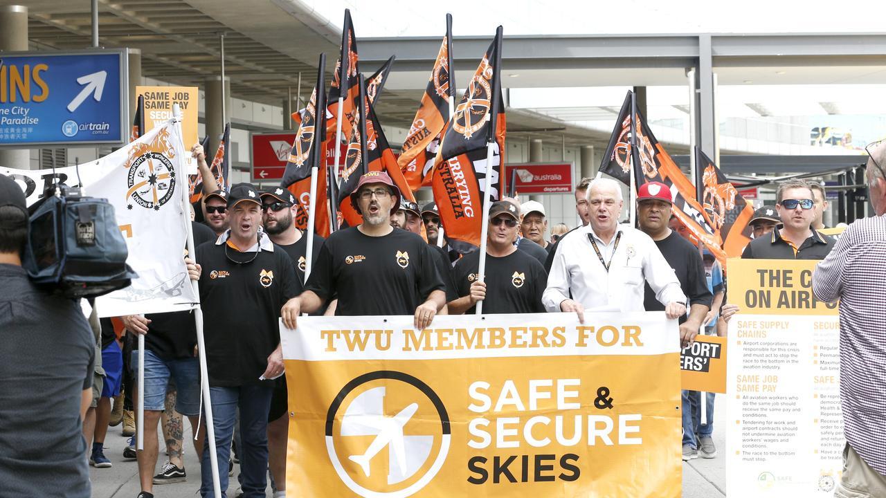 Jetstar Protest at the Brisbane domestic terminal. Picture: Steve Pohlner