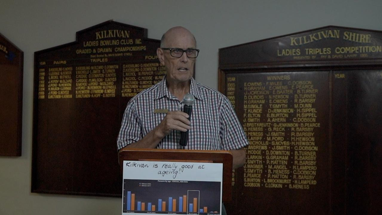 Kilkivan & District Community Care Association member Robert Thompson speaks at the meeting on Thursday.