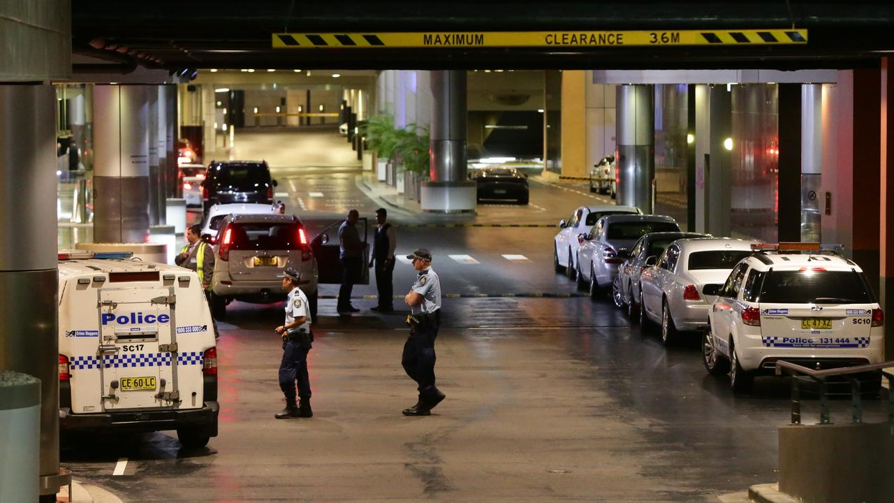 Police establish a crime scene at The Star Casino at Pyrmont.