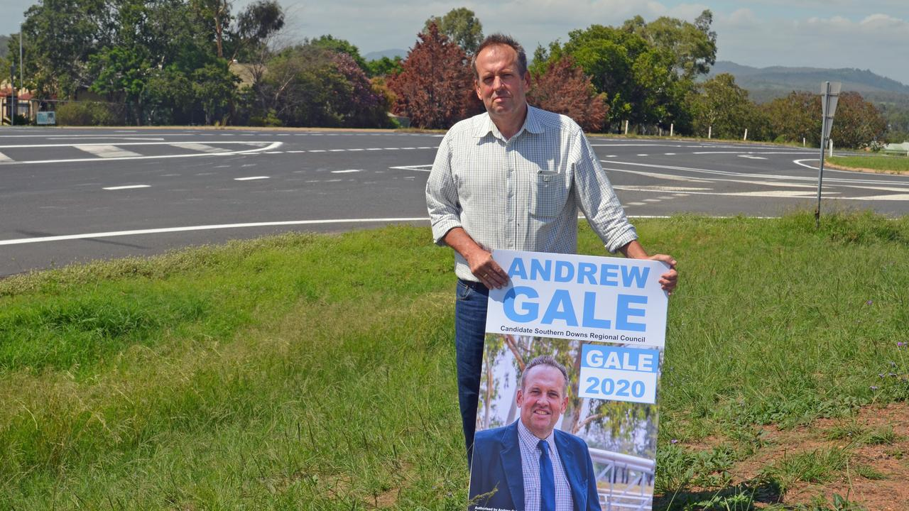 WALK OF SHAME: Council candidate Andrew Gale was disappointed to see his signs were taken away from the Bracker Rd spot, despite previously getting permission to place election signage there.