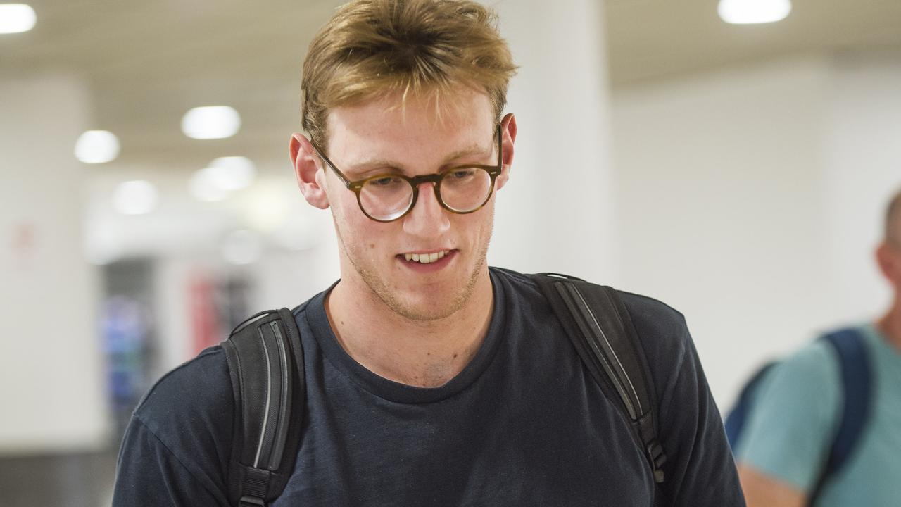 Mack Horton arrived back in Melbourne on Saturday. Picture: Rob Leeson