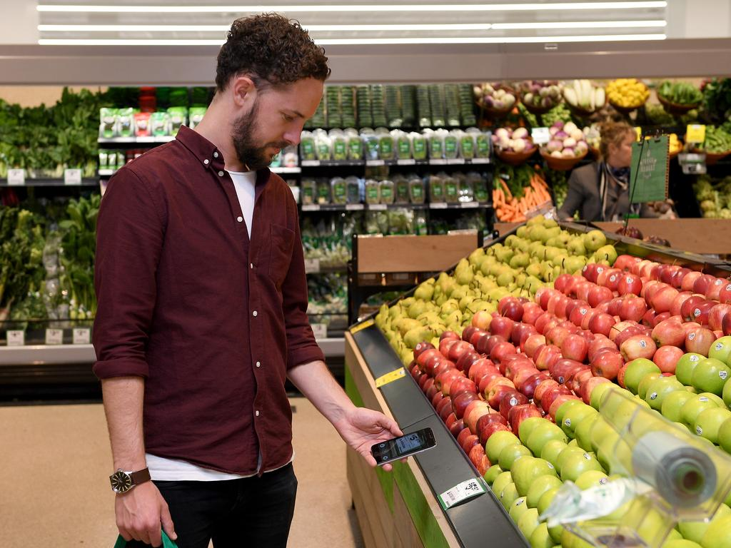 Supermarkets have come under fire for the use of plastic in fresh produce sections. Picture: AAP Image/Dan Himbrechts.