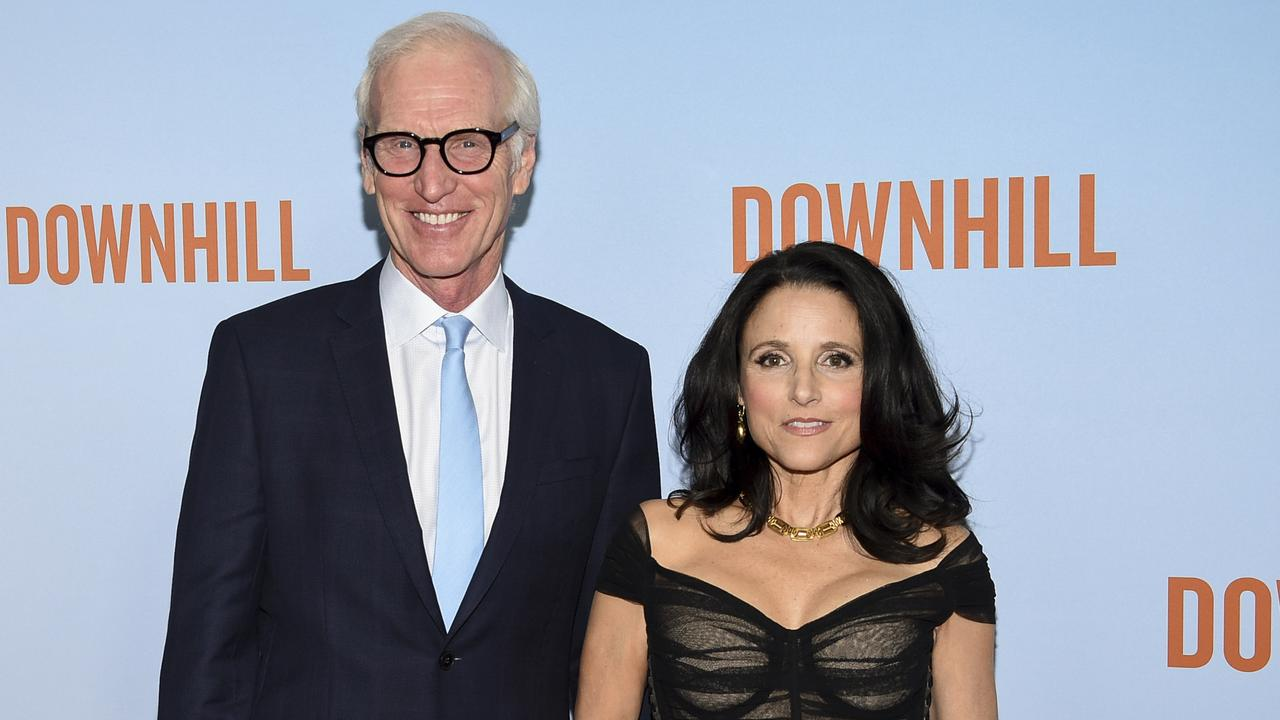 Actress Julia Louis-Dreyfus, right, and husband Brad Hall at the New York premiere of Downhill. Picture: Evan Agostini/Invision/AP