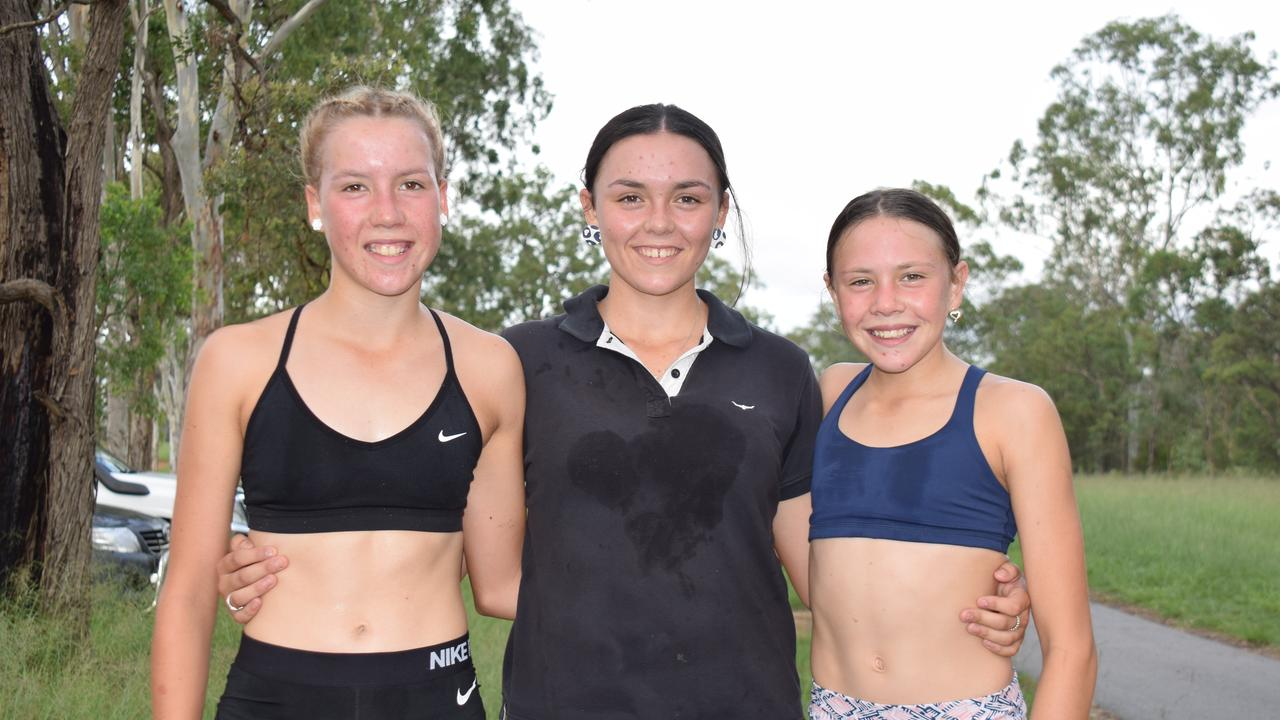 ATHLETES: Mackenzie, Sophie and Olivia Grundy after flying home at the Nanango Park Run. (Picture: Tristan Evert.