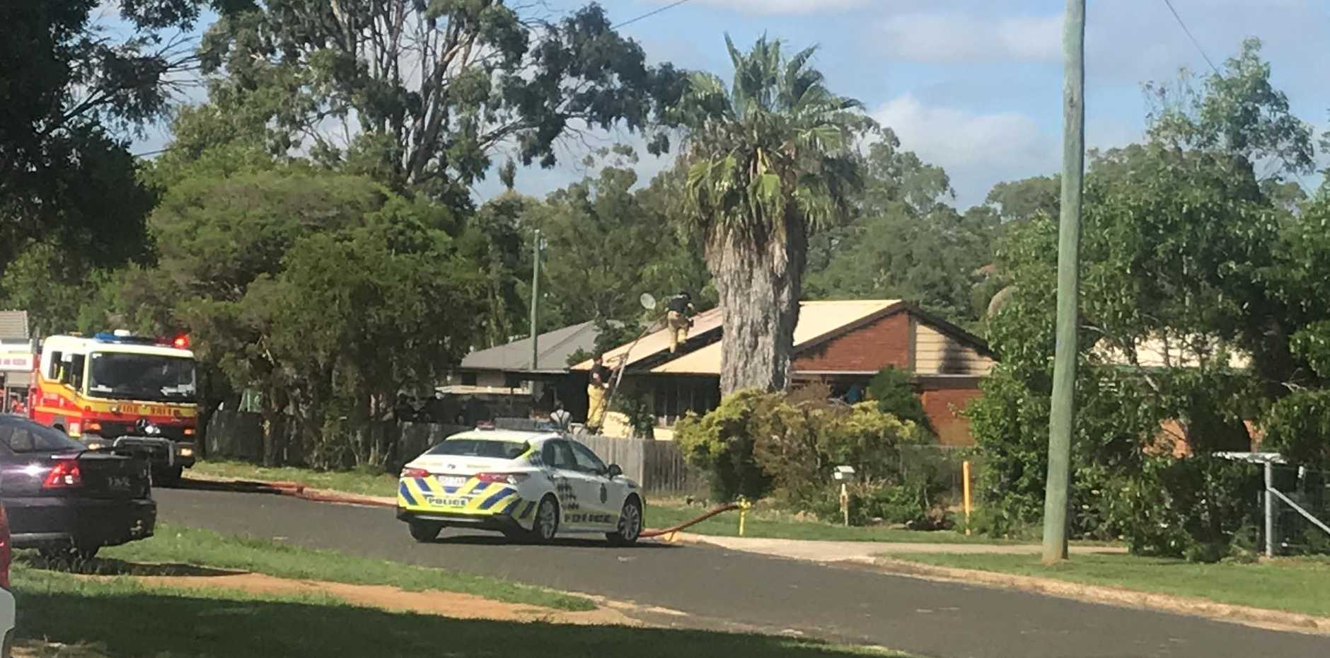A Prince St Kingaroy home has been engulfed by flames in an early morning house fire on March 1, 2020. (Picture: Laura Blackmore)