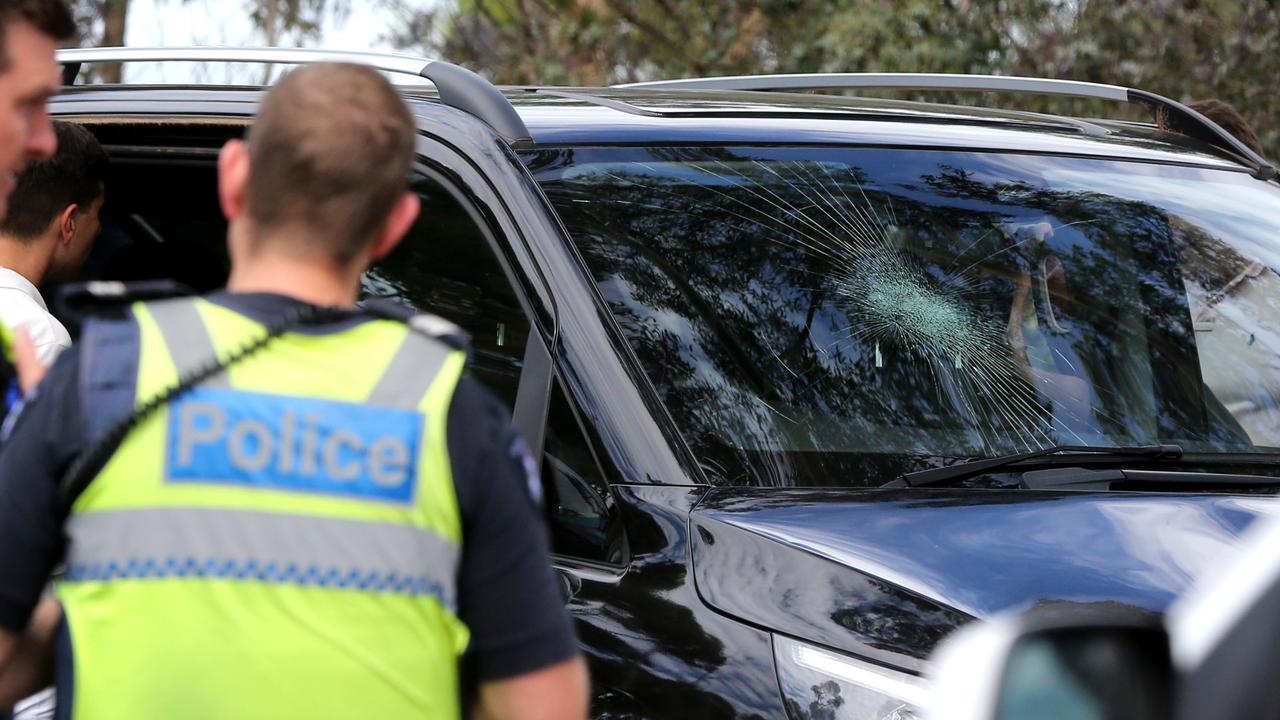 The car with damage to the front windscreen and bonnet in Melaluka Road, Leopold. Picture: Mike Dugdale