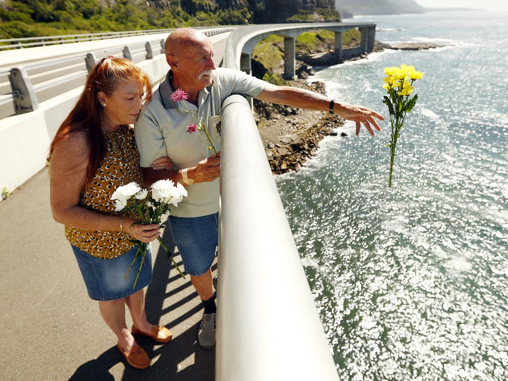 Ivan Milat's brother Bill and sister-in-law Carol at Wollongong's Sea Cliff Bridge where the backpacker's ashes were scattered in a family ceremony late last year. Picture: Sam Ruttyn