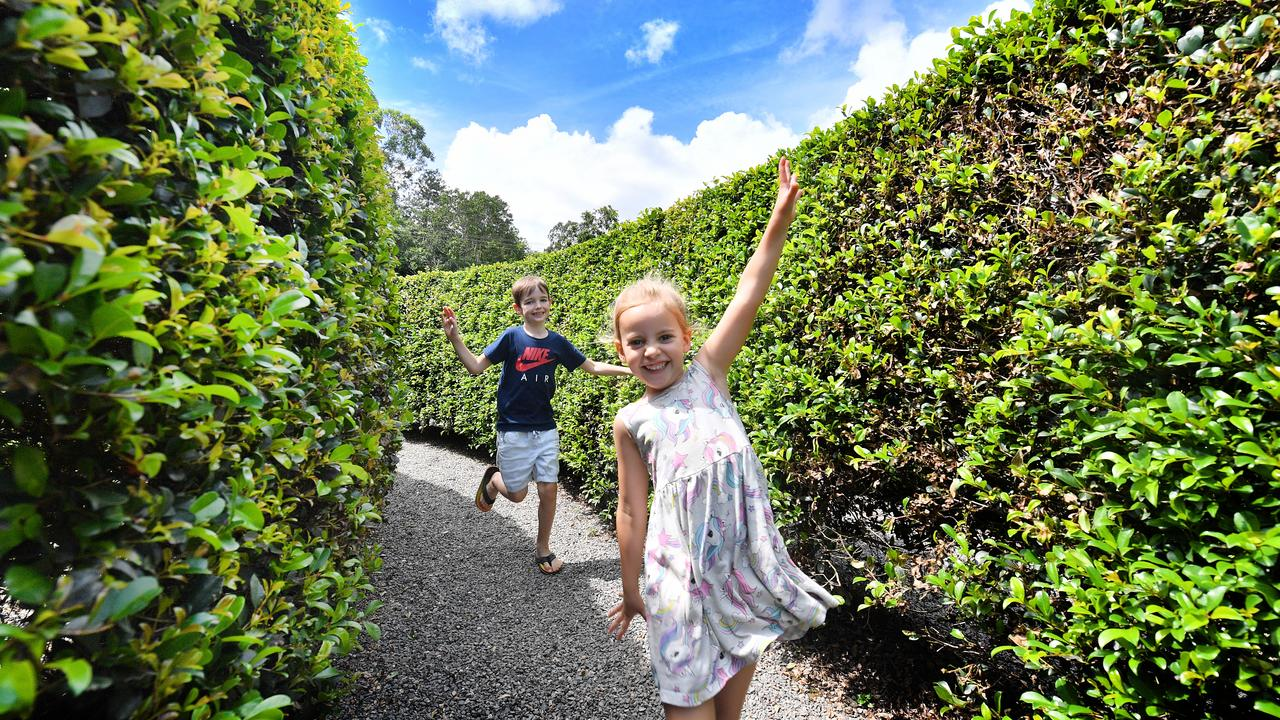 Blake, 6, and Zara Cheshire, 4, having fun at Bellingham Maze. Photo: John McCutcheon