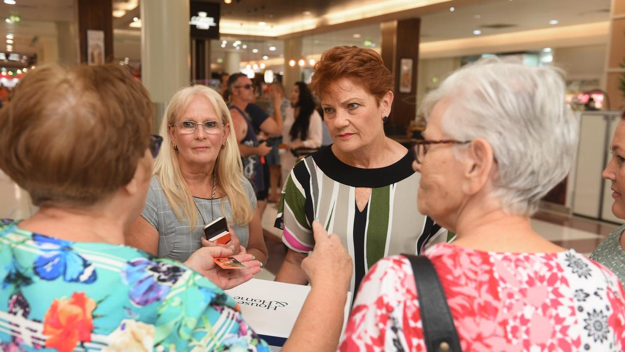 Pauline Hanson visited Redbank Plaza with One Nation candidate for Bundamba Sharon Bell.
