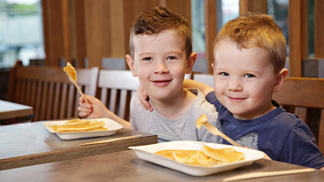 Jimmy Egan, 5, and Sean Egan, 3, were happy to embrace the new wooden cutlery at McDonalds.