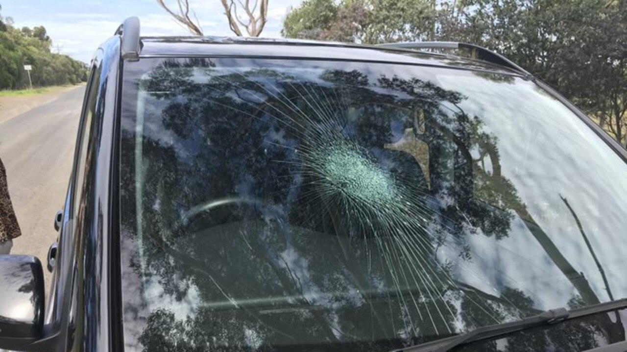 The car damaged at Campbell Point House at Leopold after being punched.