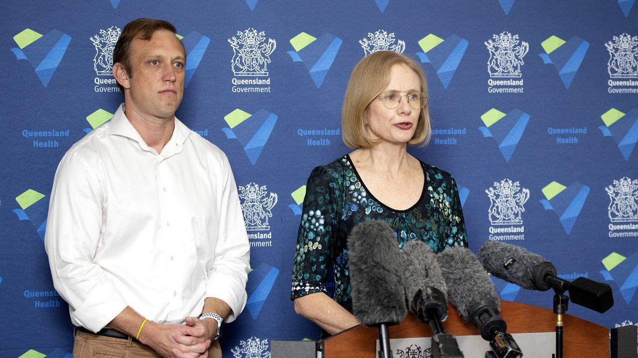 Chief Health Officer Dr Jeannette Young speaks to the media at a press conference in Brisbane CBD, Saturday February 29, 2020. The government has issued a contact tracing alert for the Coronavirus after a woman arrived to the Gold Coast with the virus. (AAP/Image Sarah Marshall)