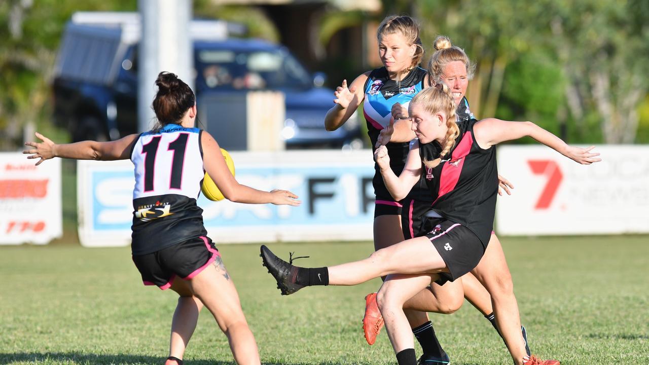 Wide Bay Womens AFL - Bombers v Bay Power. Brooke Lewis (Bombers) kicks for goal.Photo: Alistair Brightman